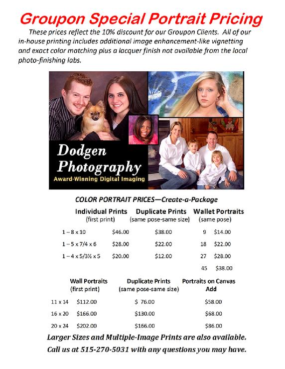 Senior and Family Portrait Photography Special Pricing